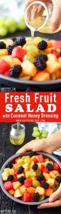 Fresh Fruit Salad with Coconut Honey Dressing Recipe Collage