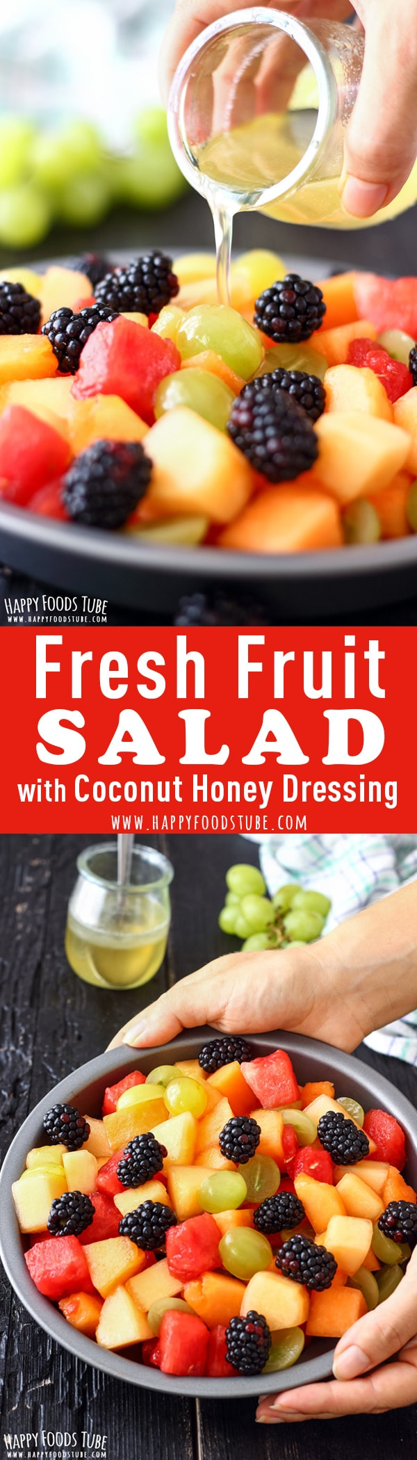 This fresh fruit salad with coconut honey dressing is a refreshing and easy summer dessert. Selection of fruits is dressed with easy flavorful syrup. How to make a fruit salad step by step