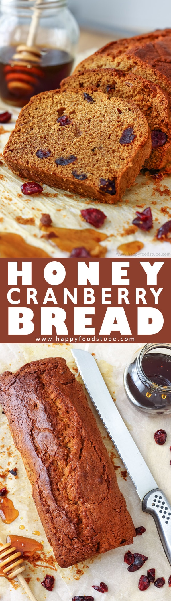 This honey cranberry bread is a delicious quick bread. Made from scratch, with a 10 minute preparation it is the perfect loaf for busy families. Homemade honey bread with cranberries. #quickbread #bread #loaf #baking