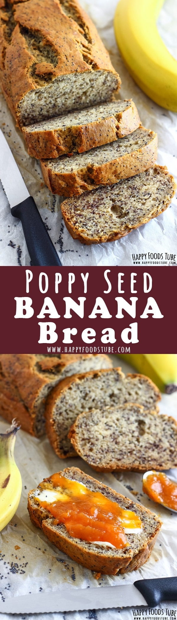 Enjoy this moist and crunchy poppy seed banana bread for breakfast, brunch or an afternoon snack. This recipe has no butter, no oil in it and is low in sugar. How to make banana bread with poppy seeds