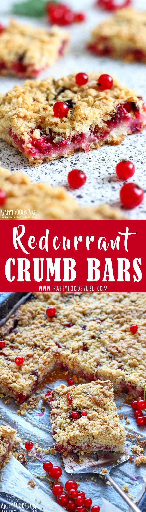 These redcurrant crumb bars will satisfy your sweet tooth. Oatmeal topping, juicy berry filling and sweet crust are turned into yummy homemade bars. Red currant dessert recipes