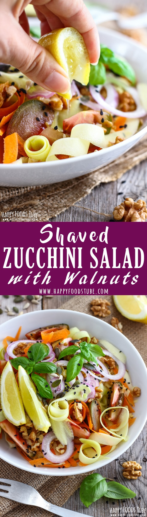 Shaved Zucchini Salad with Walnuts is a quick & easy side. Fresh vegetables, nuts and seeds are finished off with a drizzle of lemon juice. Healthy salad ideas. Vegetarian salad recipes