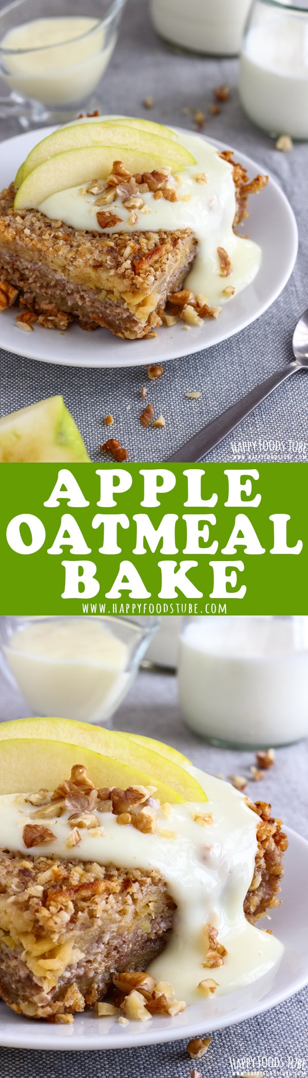 The best apple oatmeal bake you will ever taste! Crispy on the outside, moist on the inside, sweet and addictive. No eggs, no flour and gluten free recipe. Homemade apple oatmeal bake from scratch. #apple #oatmeal #breakfast #bake #recipe