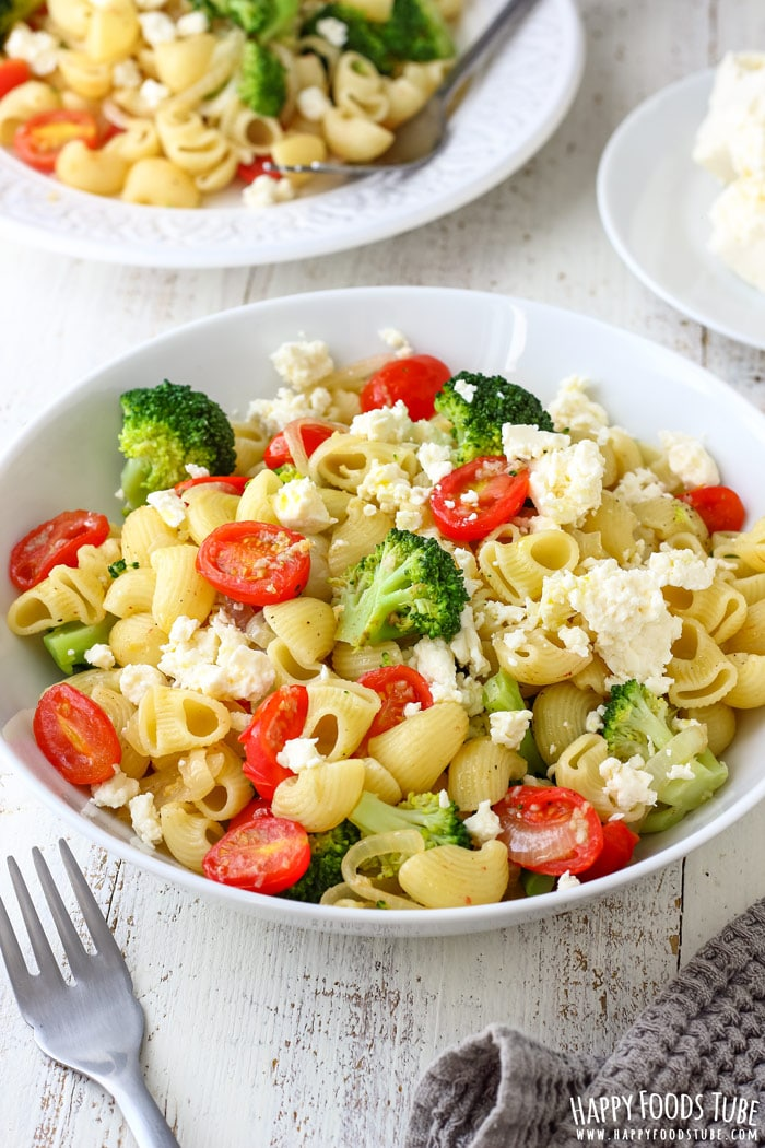 Broccoli Tomato Pasta Salad on the Table Picture