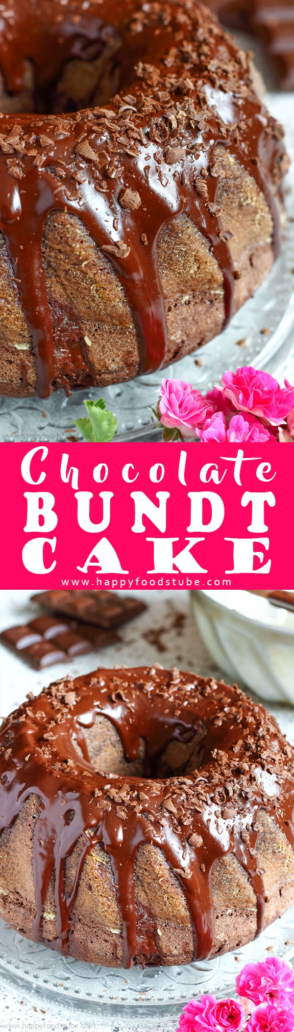 Topped with chocolate glaze and chocolate shavings this chocolate bundt cake is the perfect dessert for any occasion. Makes a great centerpiece! Chocolate bundt cake from scratch. #bundt #chocolatecake #cakerecipes