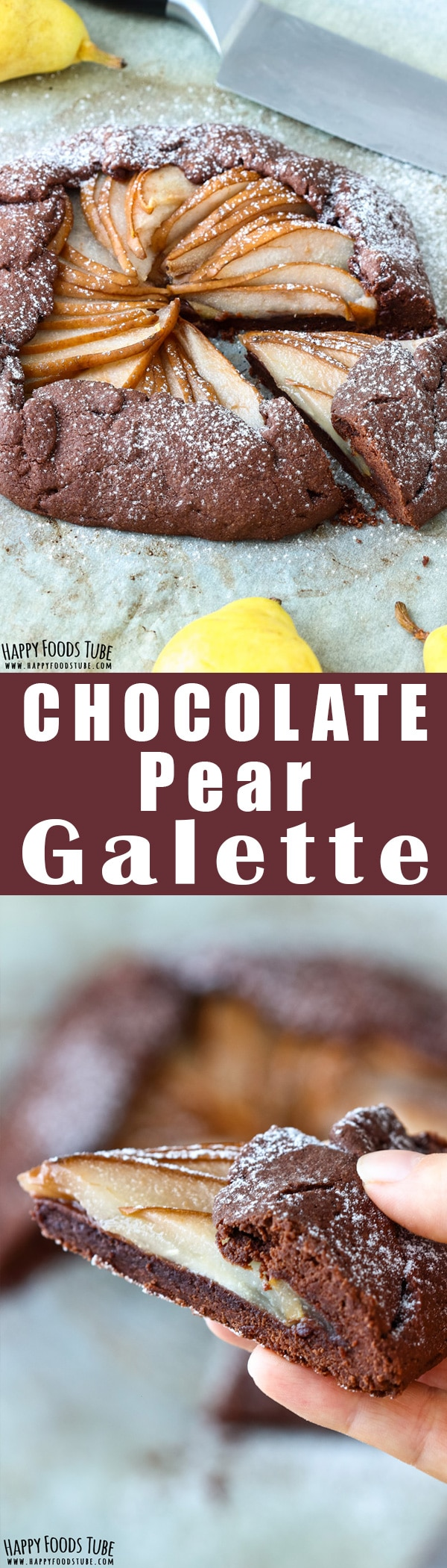 Chocolate Pear galette is the perfect fall dessert. Rich chocolate crust and sweet pear filling are hard to resist. Make the pastry ahead and finish off the next day. Easy homemade dessert recipe. Only 6-ingredients and ready in 40-minutes. #galette