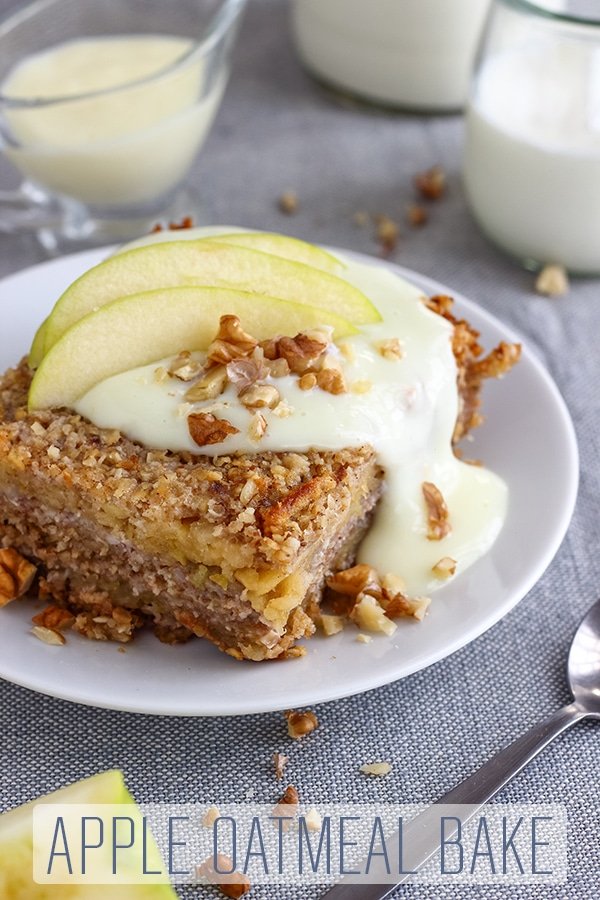 The best apple oatmeal bake you will ever taste! Crispy on the outside, moist on the inside, sweet and addictive. No eggs, no flour and gluten free recipe. Homemade apple oatmeal bake from scratch. #happyfoodstube #apple #oatmeal #breakfast  #glutenfree  #flourless #eggless #eggfree #bake #recipe