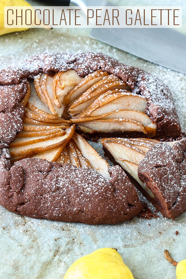 Chocolate Pear galette is the perfect fall dessert. Rich chocolate crust and sweet pear filling are hard to resist. Make the pastry ahead and finish off the next day. Easy homemade dessert recipe. #happyfoodstube #galette #chocolate #pear #dessert #french #food #baking #homemade