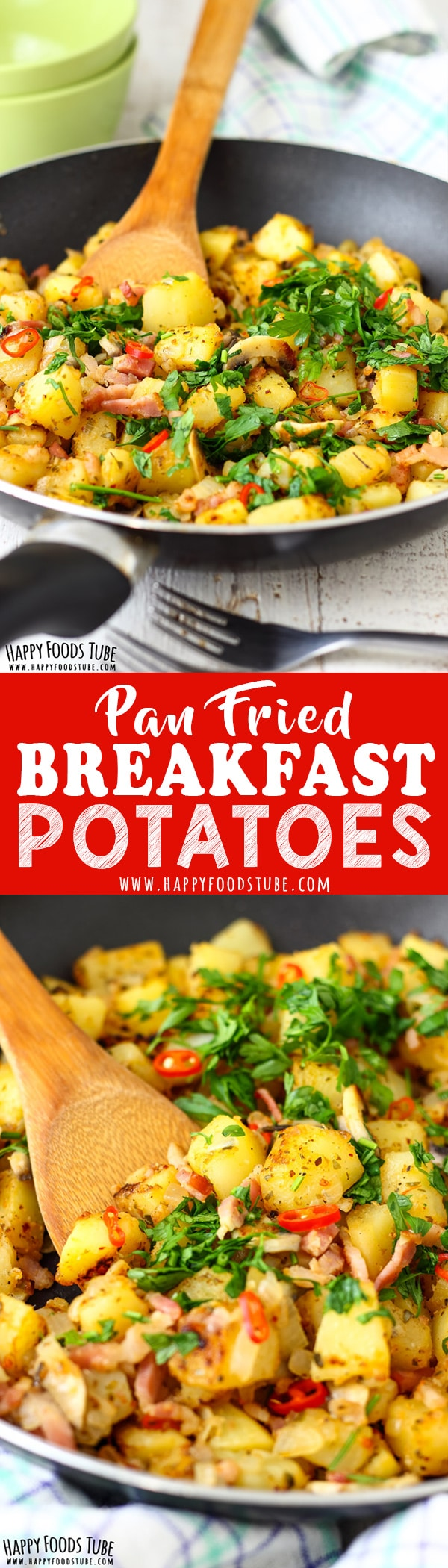 These pan fried breakfast potatoes are quick to make, filling and seasoned to perfection. Potatoes, mushrooms and bacon are turned into a delicious breakfast meal. Crispy pan fried breakfast potatoes recipe. #mealplanning #homecooking #breakfast