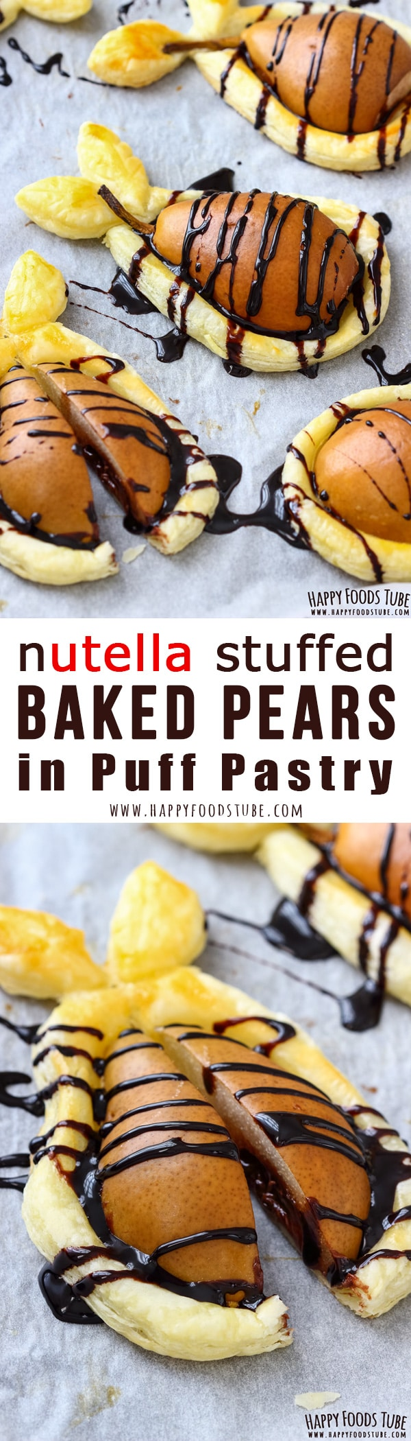 Wow your guests with Nutella stuffed baked pears in puff pastry. This easy fall dessert is ready in less than 30 minutes and requires only 5 ingredients. #dessert #nutella #pears #puffpastry #recipe