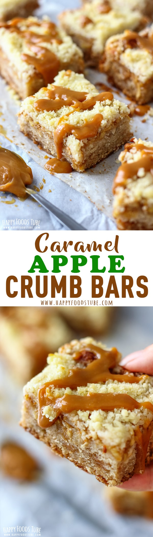 Sweeten up your day with these caramel apple crumb bars! Moist crust, topped with Dulce de Leche, apples and streusel topping. Perfect fall dessert. Caramel apple crumb bars with streusel topping. #baking #caramel #crumbbars #streuseltopping #dulcedeleche #desserts