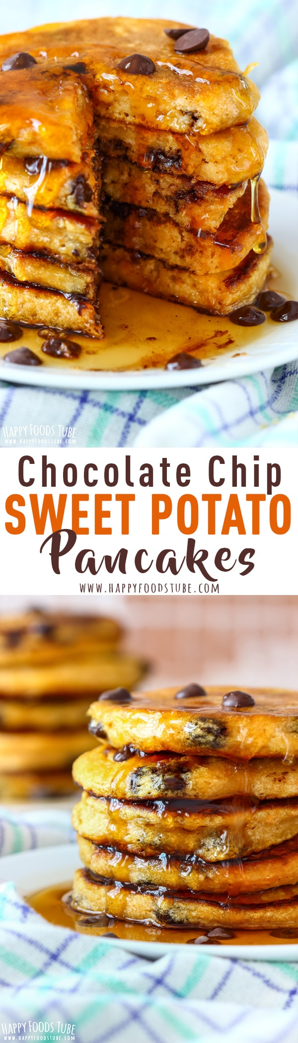 Chocolate Chip Sweet Potato Pancakes are one of the weekend breakfast recipes you will immediately fall in love with. Light, fluffy and filled with chocolate. Step by step how to make sweet potato pancakes. #sweetpotato #pancakes #chocolatechip #breakfast