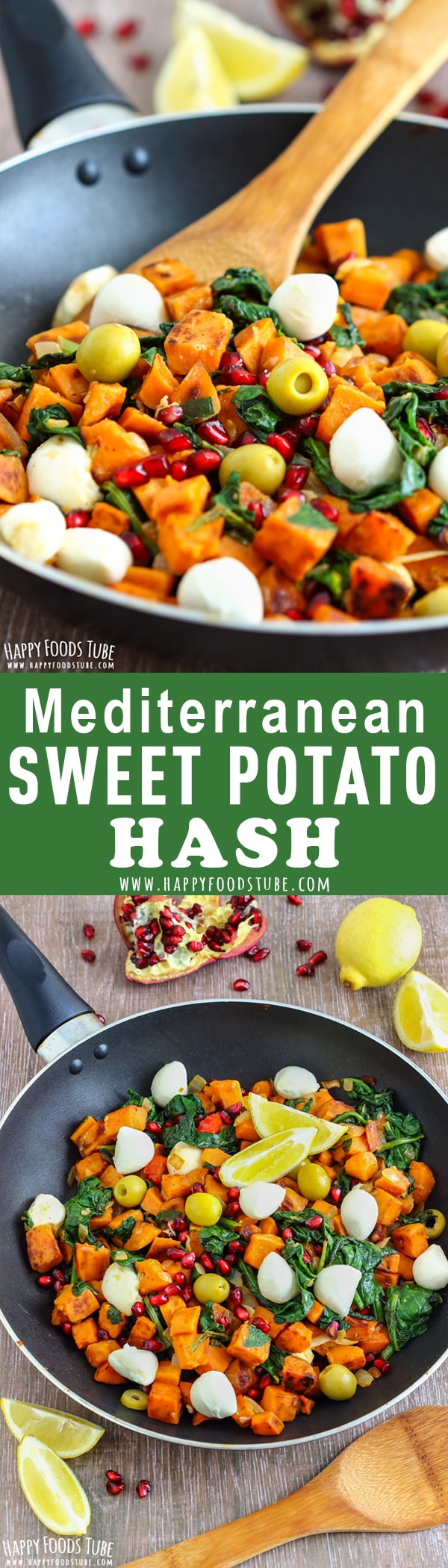 This Mediterranean Sweet Potato Hash is bursting with Mediterranean flavors. Easy one-pan meal with pomegranate, mozzarella, spinach and olives! Perfect for breakfast, lunch, brunch, breakfast for dinner. #sweetpotato #potatohash #breakfasthash