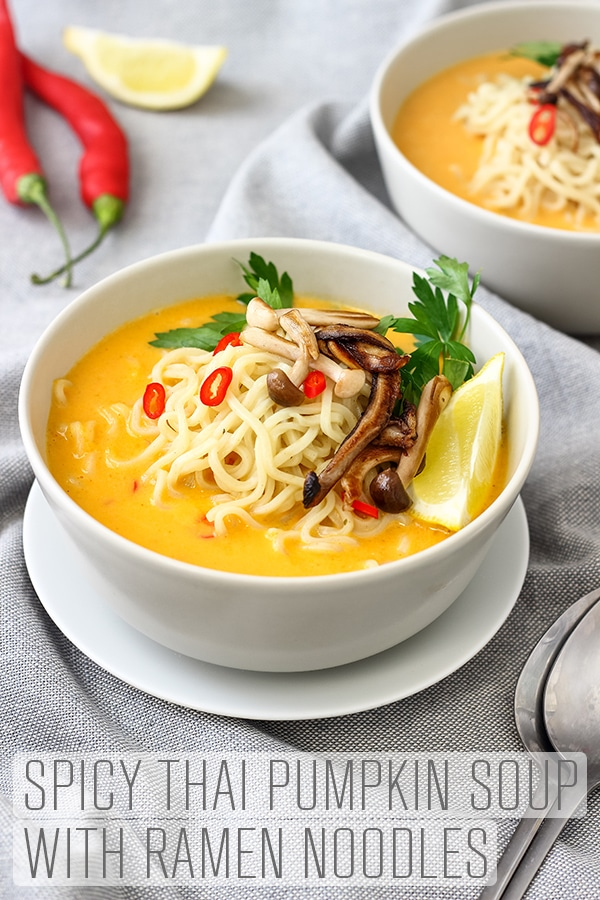 This spicy Thai pumpkin soup recipe ticks all the boxes – it's warming, filling and has a spicy kick to it without being over-powering. Spicy Thai pumpkin soup with ramen noodles and some pan-roasted mushrooms. #happyfoodstube #pumpkinsoup #thaisoup #vegan #vegetarian #cooking #spicy #soup #recipe #pumpkin #mushroom #ramen #healthy