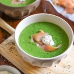 15 Minute Green Pea Soup with Smoked Salmon