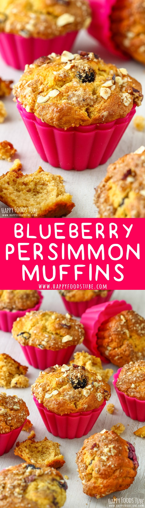 Soft and moist these blueberry persimmon muffins are perfect for breakfast, brunch or as a snack. Whole blueberries and hazelnut streusel make them extra delicious. #persimmon #blueberry #muffins #desserts #recipes #greekyogurt #hazelnut #streusel #baking #breakfast