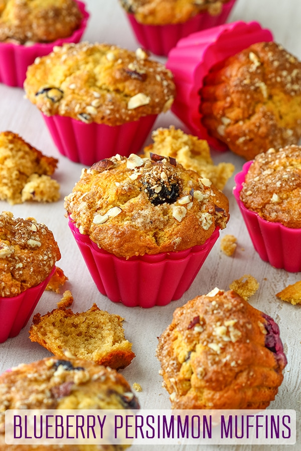 Moist Blueberry Persimmon Muffins are perfect for breakfast, brunch or as a snack. Made from scratch, whole blueberries and hazelnut streusel make them extra delicious. #persimmon #blueberry #muffins #dessert #recipe #baking #breakfast #blueberrymuffins