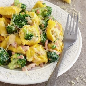 Cheese Tortellini Pasta with Broccoli and Bacon Image