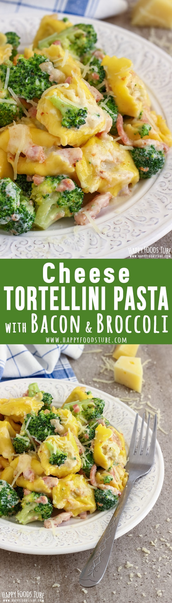 This cheese tortellini pasta with broccoli and bacon recipe is a quick weeknight dinner idea! All you need is 5-ingredients and 20-minutes. Easy to make Italian food. #tortellini #pasta #broccoli #bacon #recipe #italianfood #cooking #lunch #dinner #cheese