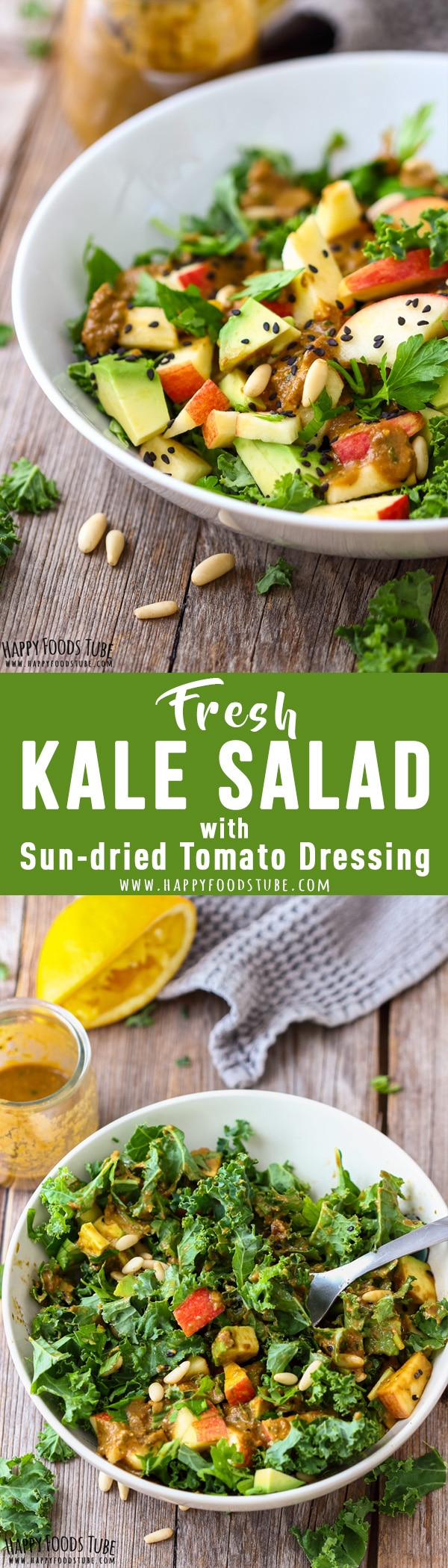 Fresh kale salad with sun-dried tomato dressing is healthy and delicious at the same time. Packed with nutrients this salad is a must try this New Year! #kale #salad #dressing #recipes #raw #detox #healthy #sundried #tomato #newyear