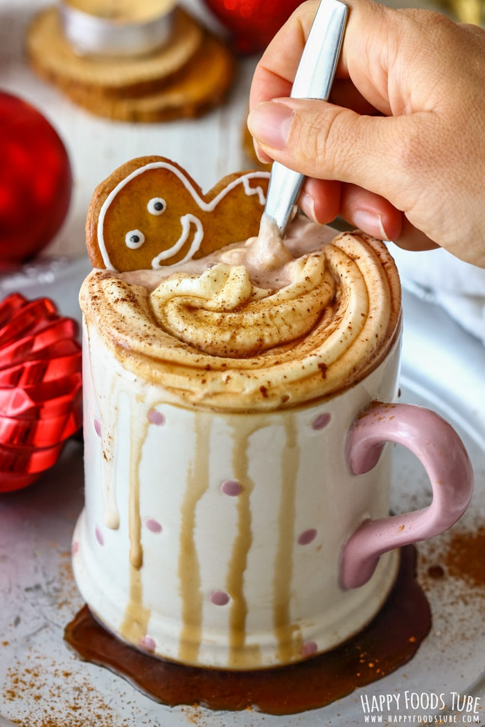 Gingerbread Hot Chocolate with Gingerbread Man Picture