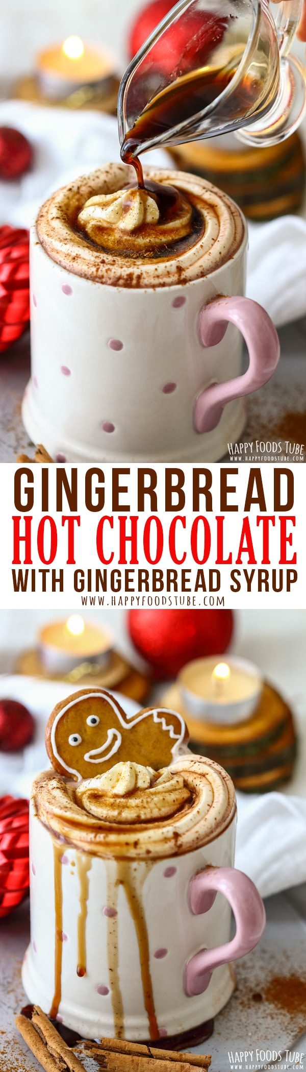 Homemade gingerbread hot chocolate is the perfect Christmas drink. This gingerbread spice infused hot chocolate warms you up & gets you into the festive mood. Holiday hot chocolate recipe. #gingerbread #hotchocolate #holidaydrinks #hotcocoa #recipe #gourmet #christmasdrinks #christmas #cocoa #xmas