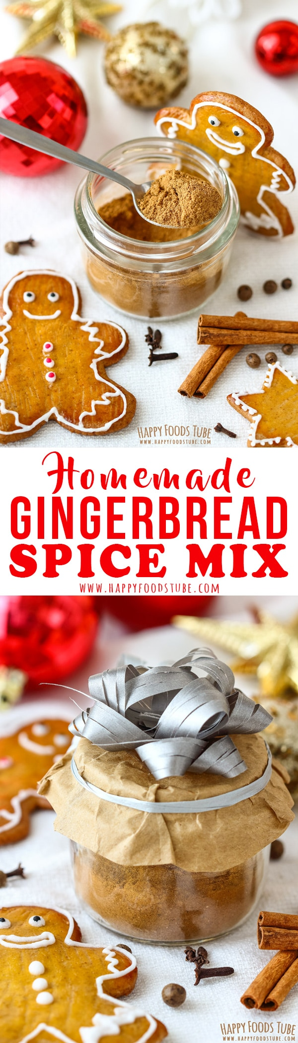 This homemade gingerbread spice mix is perfect for pancakes, muffins, quick breads or cookies. It also makes a great Christmas gift. #gingerbread #spicemix #christmas #holidays #recipe #spices #giftideas