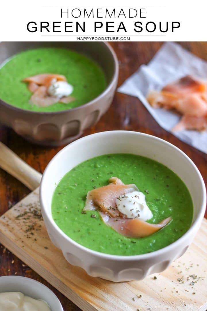 Homemade green pea soup