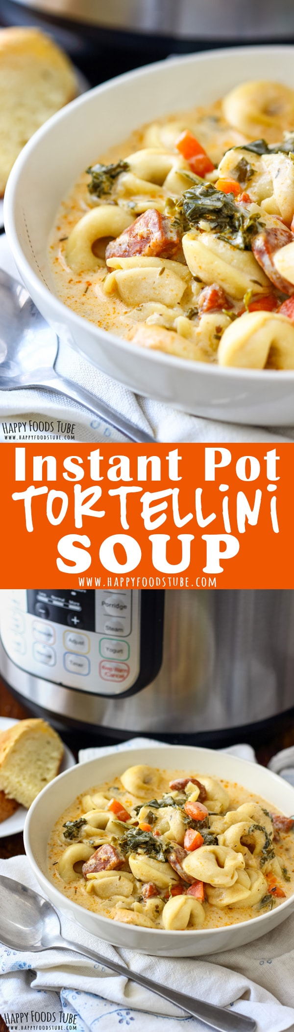 This Instant Pot Creamy Tortellini Soup is a must make soup if you have Instant Pot. It's creamy, hearty and perfect for this cold weather. #instantpot #tortellini #soups #onepot #recipes #pressurecooker #pasta #italian #food #creamy #chorizo