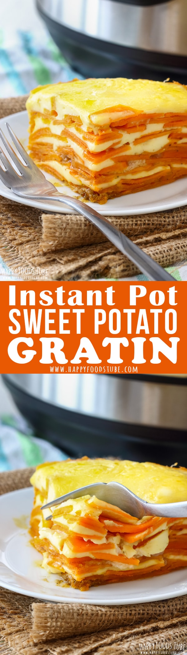 Instant Pot sweet potato gratin is quicker than its oven-baked version but tastes equally delicious. Sweet potatoes, rich sauce are layered & topped with cheese. #sweetpotato #potatogratin #instantpot #pressurecooker #frenchfood #frenchcuisine #vegetarian #recipes #meal #sidedish #makeahead #casserole #weeknightmeals
