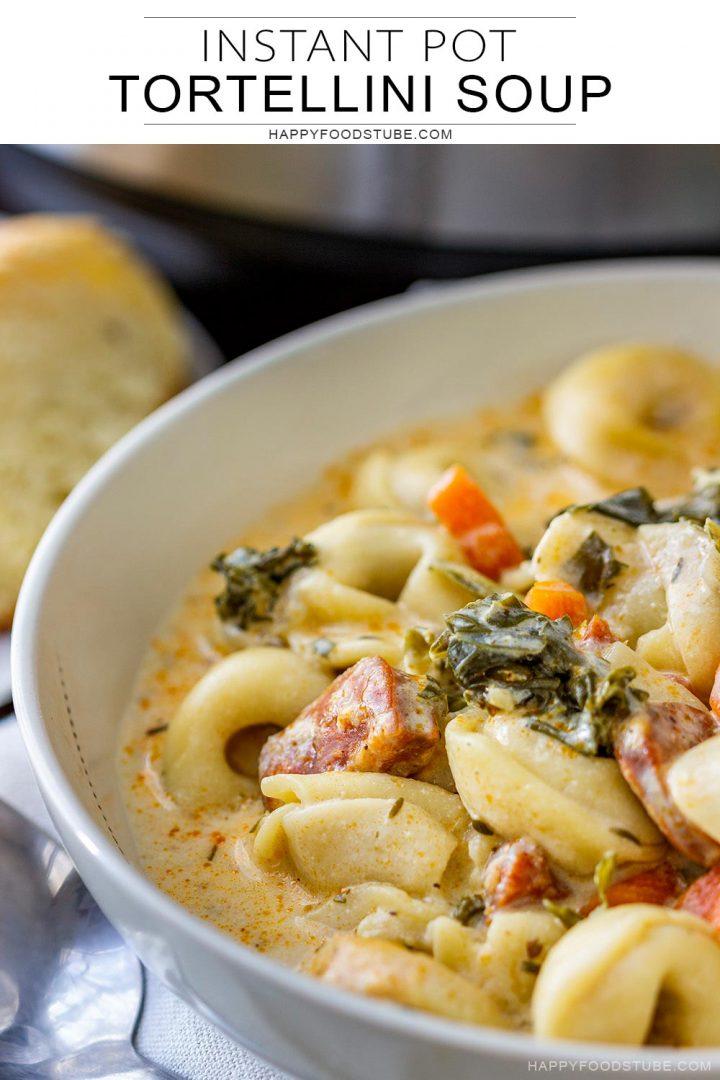 Bowl of homemade tortellini soup