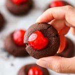 Easy Chocolate Cherry Thumbprint Cookies Recipe