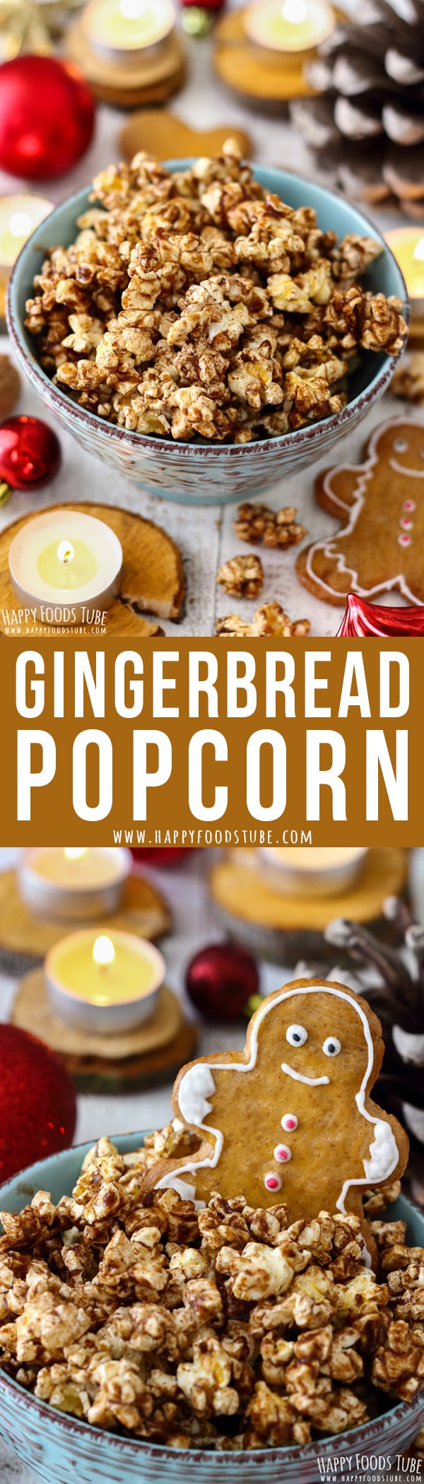 This gingerbread popcorn is sticky, sweet and ready in 5 minutes. If you like the gingerbread flavor, then this Christmas popcorn should be on your Holiday menu. #gingerbread #popcorn #holidays #christmas #desserts #snacks #holidayrecipes #christmasrecipes