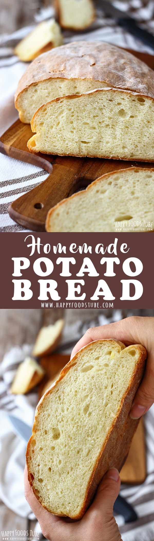 This homemade potato bread is light, fluffy and stays soft for several days. It's a foolproof bread recipe that contains no eggs, milk or butter. #homemade #potatobread #mashedpotato #bakingbread #breadrecipe #rustic #oldfashioned #howtomake