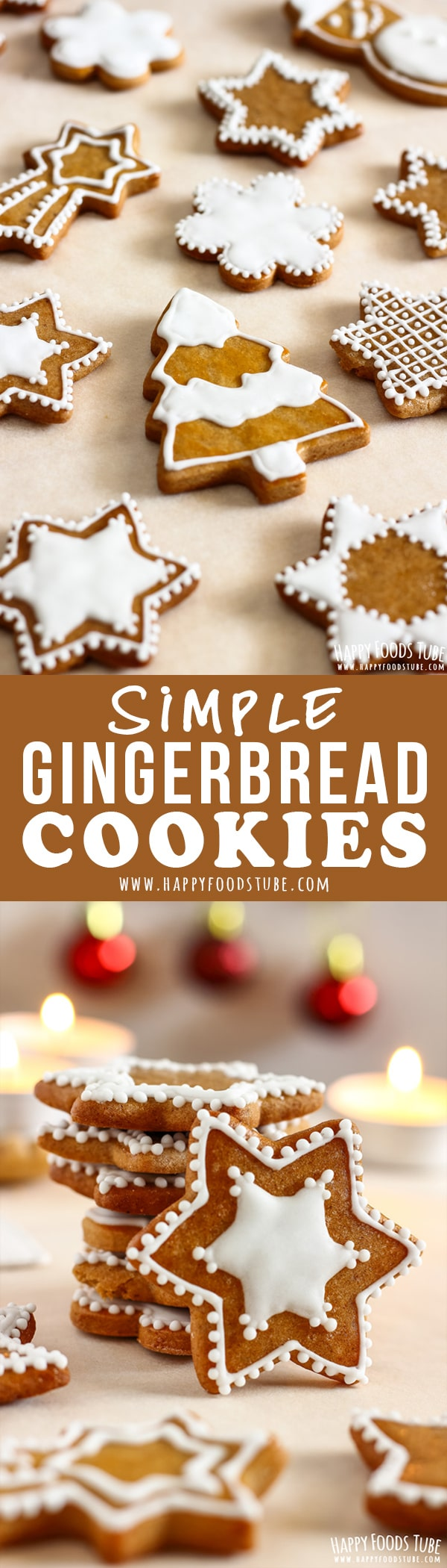 These Simple Gingerbread cookies make a great edible Christmas gift. They can be also turned into Christmas ornaments! Honey flavored dough makes them extra delicious. #homemade #gingerbreadcookies #simple #holidays #christmas #gingerbread #cookies #recipe #smallbatch #ornaments #christmascookies