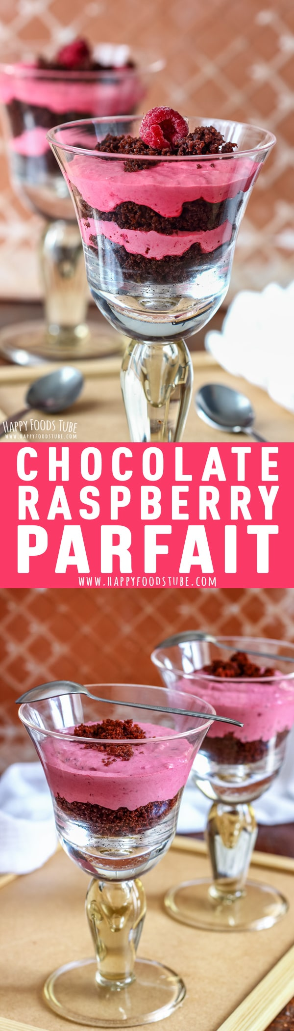 Chocolate Raspberry Parfait is an easy dessert that anyone can do. Moist chocolate cake and creamy raspberry mousse layered into glasses will definitely be a hit at your dining table. #chocolate #raspberry #parfait #dessert #recipe #mascarpone #valentinesday