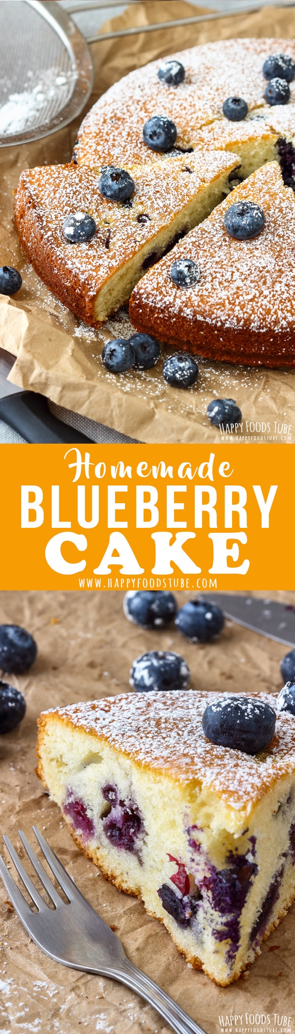 This Homemade Blueberry Cake is our family's favorite recipe. It's quick to whip up, it's soft and light and perfect with a cup of your favorite tea or coffee. Grandmother's recipe that is always a hit. #blueberrycake #baking #dessert #recipe #cake #blueberry #homemade #howtomake #simple #easy #moist #fromscratch
