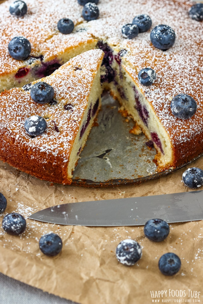 Homemade Blueberry Cake Sliced Picture