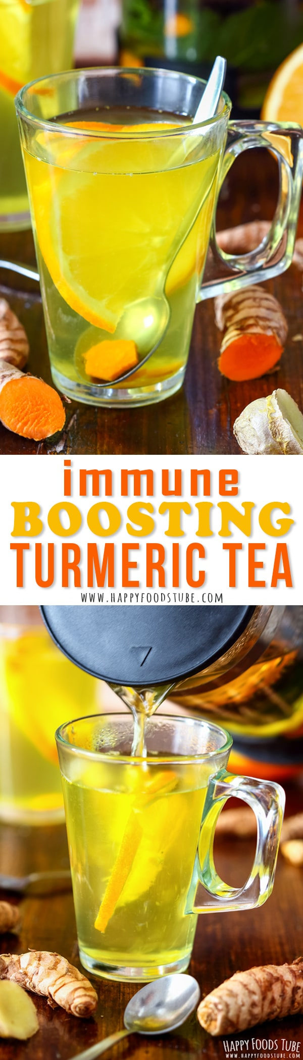 Fight off the viruses with this Immune Boosting Turmeric Tea. Freshly brewed cup of turmeric tea will help you stay healthy during cold winter months. #turmeric #turmerictea #recipe #healthy #weightloss #flu #benefits #detox #cold #howtomake #antiinflammatory #glowingskin #fresh #tea #drink