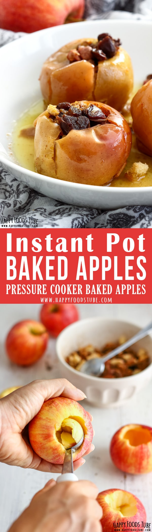 Instant Pot Baked Apples are the perfect Instant Pot dessert. 3 minutes active cooking time is all it takes to make these tender and rich in flavor baked apples. #bakedapples #baked #apples #instantpot #pressurecooker #recipe #stuffed #homemade #dessert #howtomake