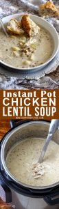 Instant Pot Chicken Lentil Soup Pinterest Collage