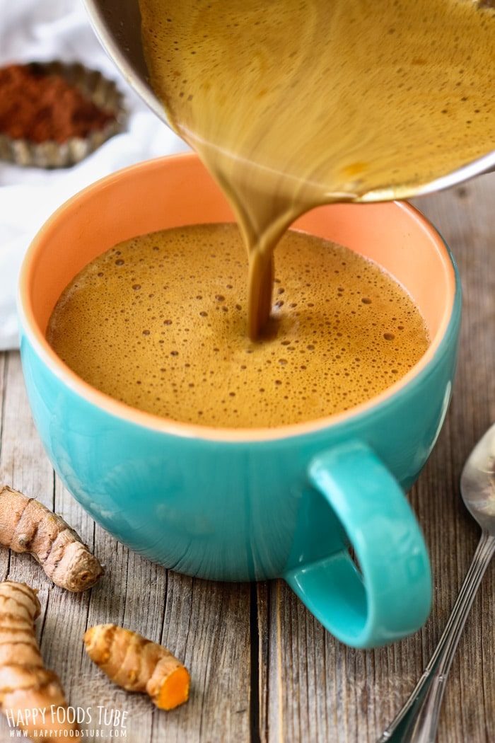 Pouring Turmeric Hot Chocolate Picture