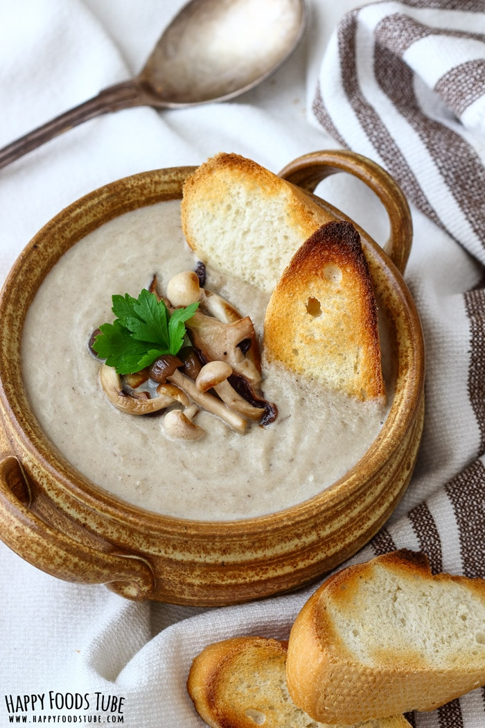 Roasted Mushroom Soup with Bread Picture