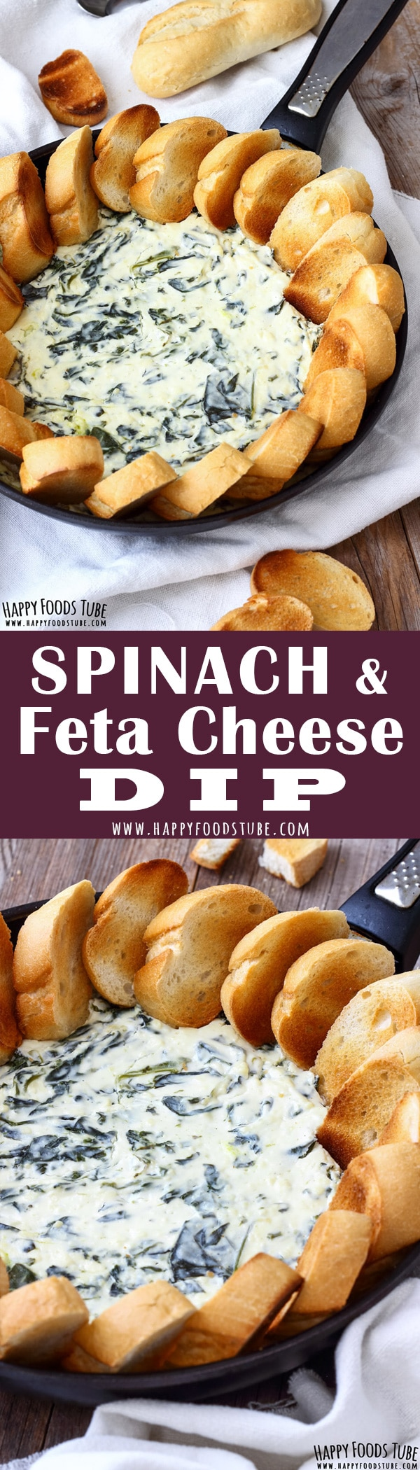 If you love entertaining at home then this warm spinach and feta dip should be on your party menu. Spinach, garlic, cream cheese and yogurt are combined together, heated up in the oven and served with toasted baguettes. #spinach #feta #appetizers #partyfood #baked #makeahead #cheese #dip #recipe #fingerfood
