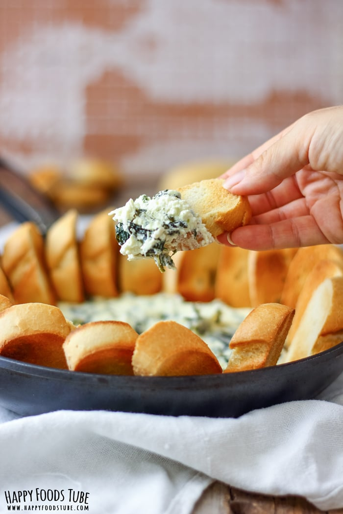 Spinach and Feta Dip with Bread on Hand Picture
