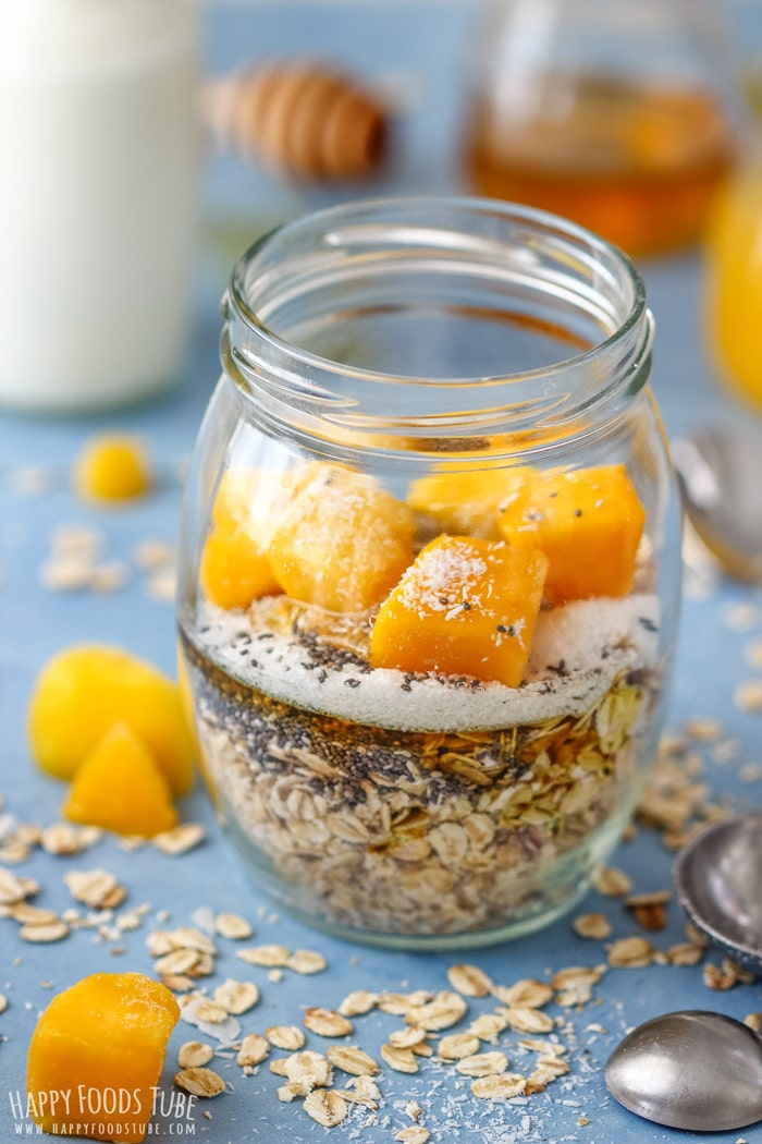 Easy to make Coconut Mango Overnight Oats