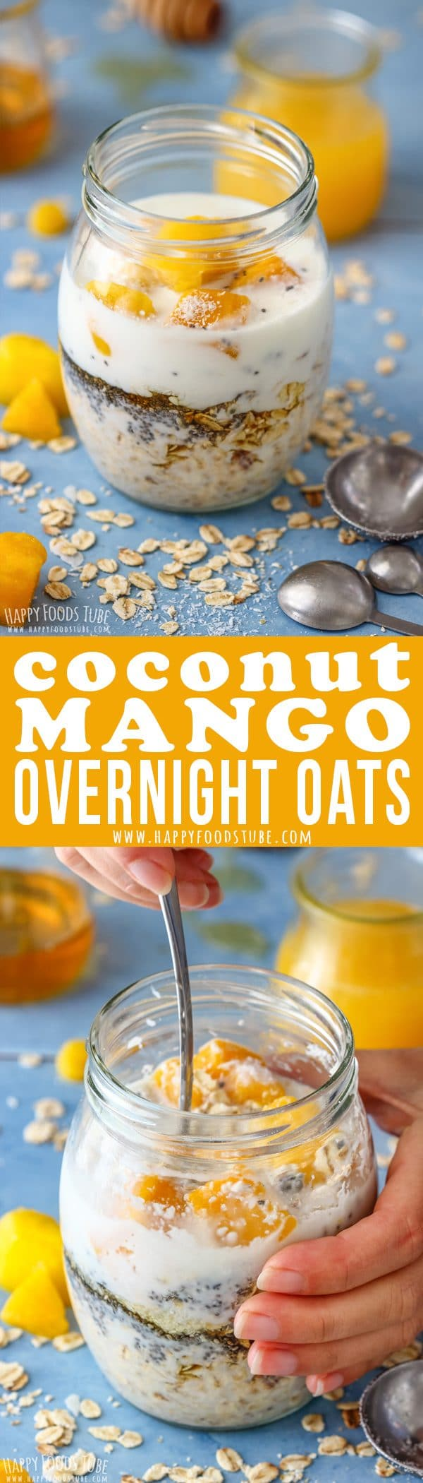 Coconut Mango Overnight Oats Pinterest Collage