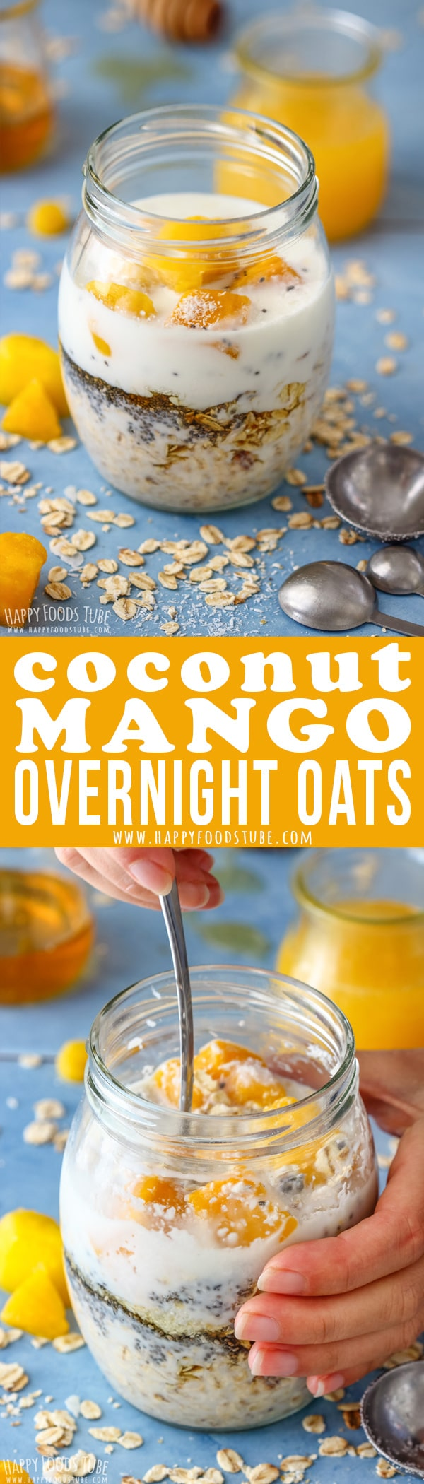 Coconut Mango Overnight oats is the perfect breakfast for people on the go, busy families or anyone who loves fuss-free breakfast. Fill a jar, place it in the fridge and enjoy the following morning. #coconut #mango #overnightoats #healthy #breakfast #oats #recipe #vegetarian #slimmingworld #jar
