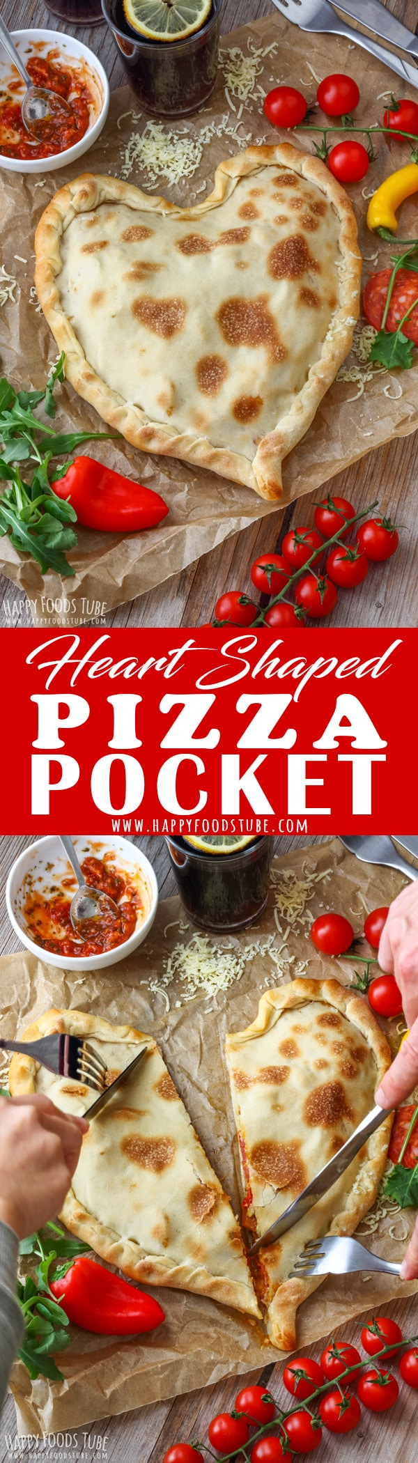 Surprise your loved ones with this Heart Shaped Pizza Pocket. It's fun, tastes amazing and the ingredients can be adjusted to your liking. Perfect for Valentine's Day or any other day. #homemade #pizza #pockets #recipe #heartshaped #valentinesday #howtomake #calzone