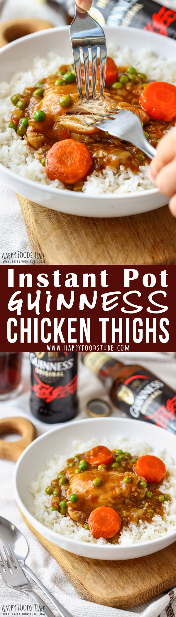 Instant Pot Guinness Chicken Thighs are the perfect weeknight dinner recipe. Juicy, easily pulled chicken cooked in Guinness flavored sauce can be served with rice or mashed potatoes. #chicken #thighs #guinness #instantpot #recipe #pressurecooker #comfortfood #dinner #lunch #cooking #howtocook